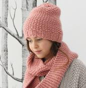 Snood enfant en laine rose des sables tricoter à la main